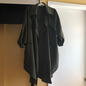 Women's Olive Trench Coat with Pockets